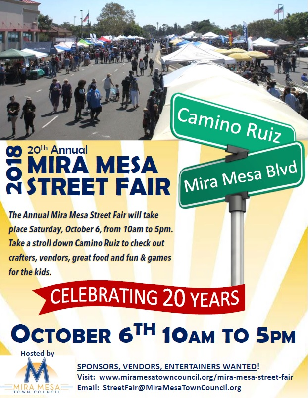 fd7e18a5f0b The 20th annual Mira Mesa Street Fair will be held on October 6, 2018, 10  AM to 5 PM, Camino Ruiz from Mira Mesa Blvd. to New Salem St. Vendor  applications ...